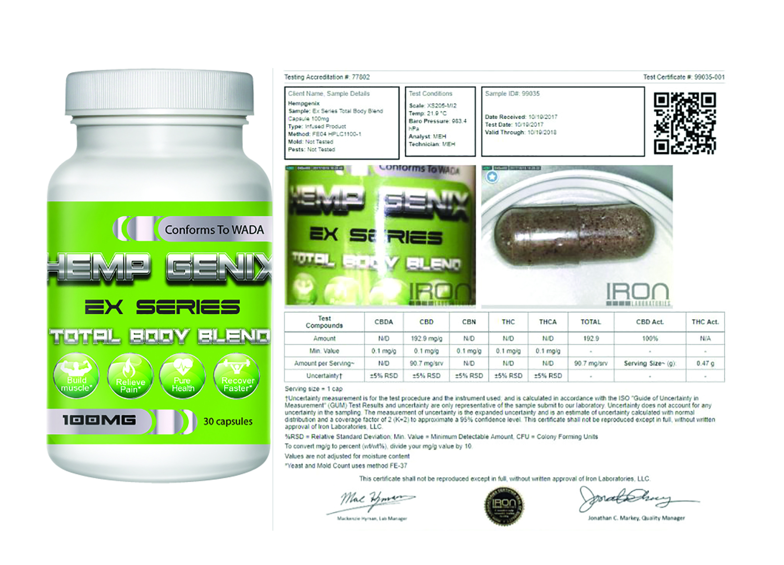 Athletes Total Body CBD Capsules (WADA Compliant)