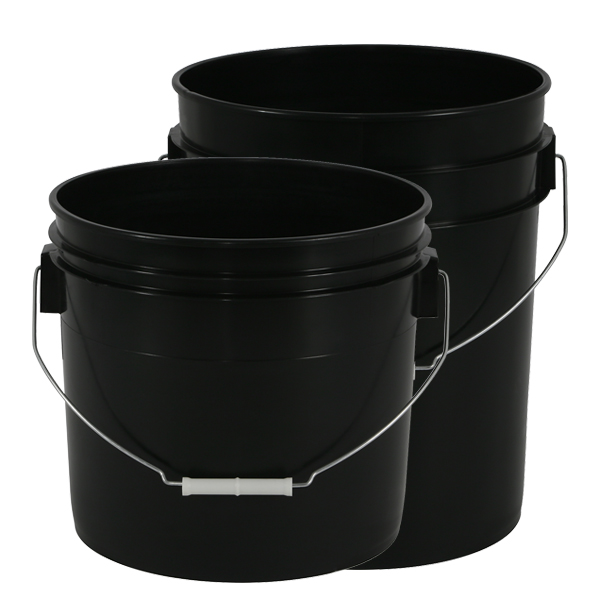 Black Plastic Buckets - 3.5 & 5 Gallon