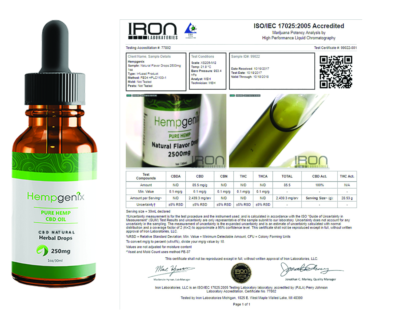 CBD Oil 250mg 1oz Natural Flavor